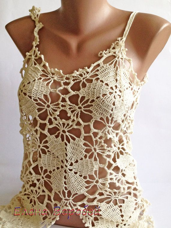 Top de encaje sexy / Crochet Top / del ganchillo por ElenaVorobey