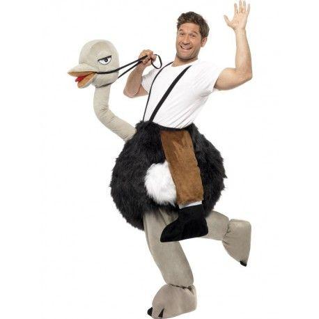 Hombre montado en Avestruz Si tu debilidad es dar la nota en las fiestas de disfraces, este traje te dará mucho juego. Tenemos la avestruz más dócil, incluso le gusta irse de fiesta y quiere irse contigo. http://www.disfracessimon.com/disfraces-adultos/3529-hombre-montado-en-avestruz.html