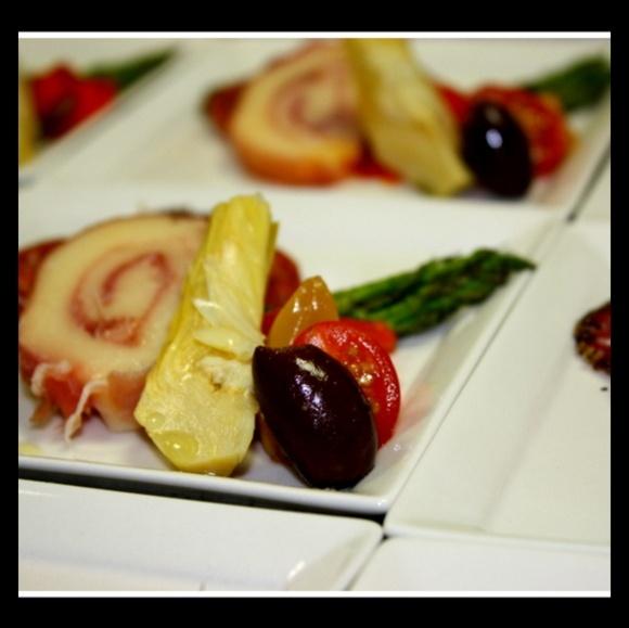 ... tomato, basil, artichoke, asparagus, and prosciutto wrapped mozzarella