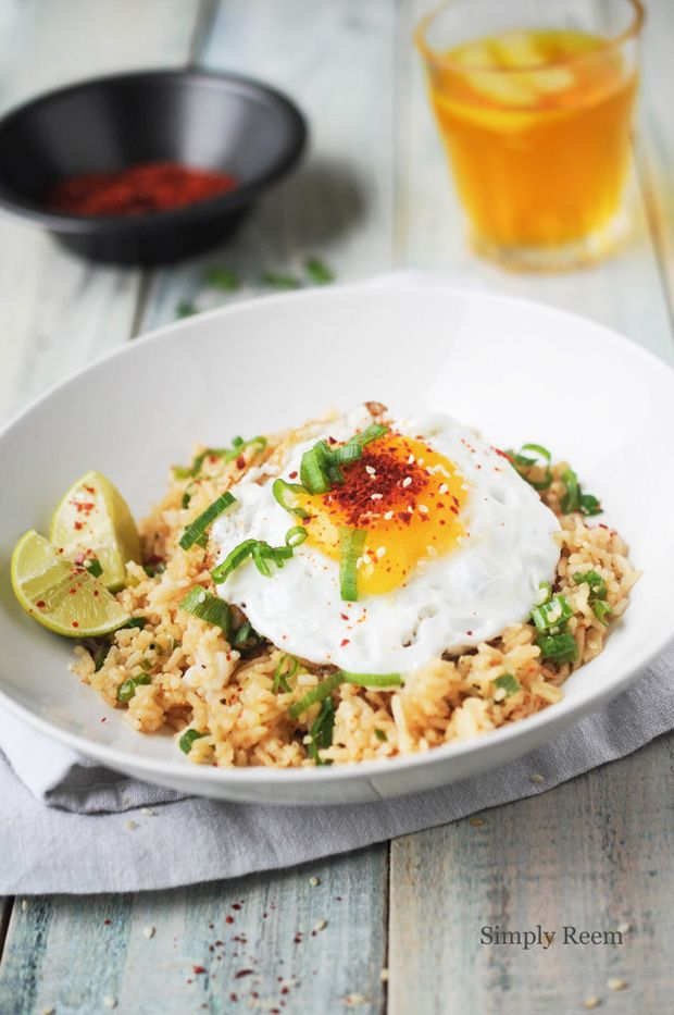 Fried Rice, topped with a fried egg