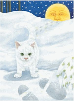 """Following Santa's Footstep Kitty 500 piece Jigsaw Puzzle    SunsOut Puzzles will provide a challenge for one and all.    Perfect for collectors to mat and frame.    Art by Anne Mortimer    Size: 18"""" x 24""""    Made in the USA, by SunsOut.    Eco-Friendly, Soy Based Inks & Recycled Board.    Recommended Ages: 8 and Up    Consumer Product Safety Notice:  WARNING: CHOKING HAZARD  Small parts Not for children under 3 years Regular price: $12.00  Sale price: $10.80"""