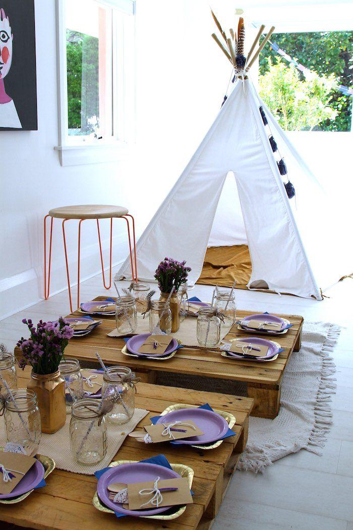 Plum, White & Gold Bohemian Birthday Party via Kara's Party Ideas | KarasPartyIdeas.com (6)