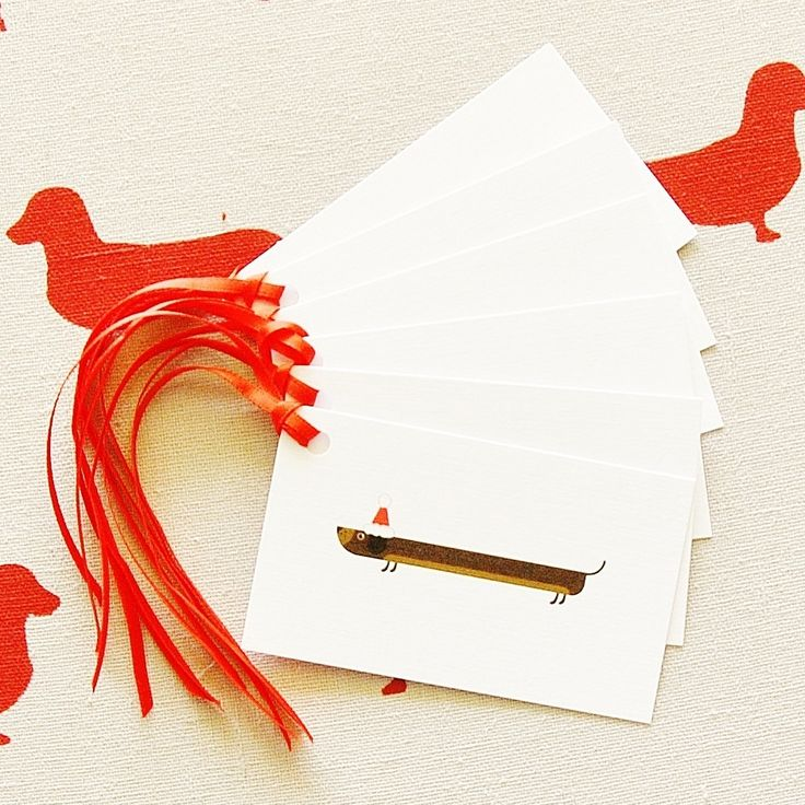 $5AU for pack of 6 cards with FREE POSTAGE (Australia wide) Little Sausage Christmas Gift Tags for Dachshund Sausage Dog lovers x 6 by ShanonaDesigns on Etsy