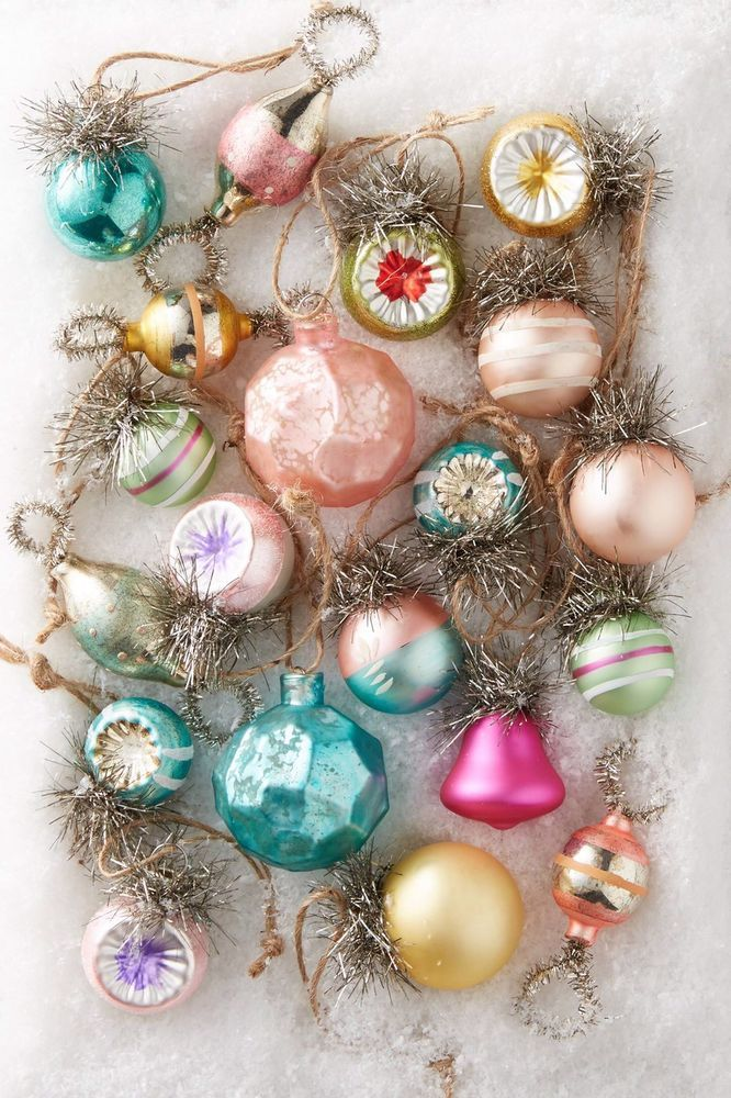 Super Mini Glass Bird Christmas Ornament Hanging Earring Set of 6 Vintage Style