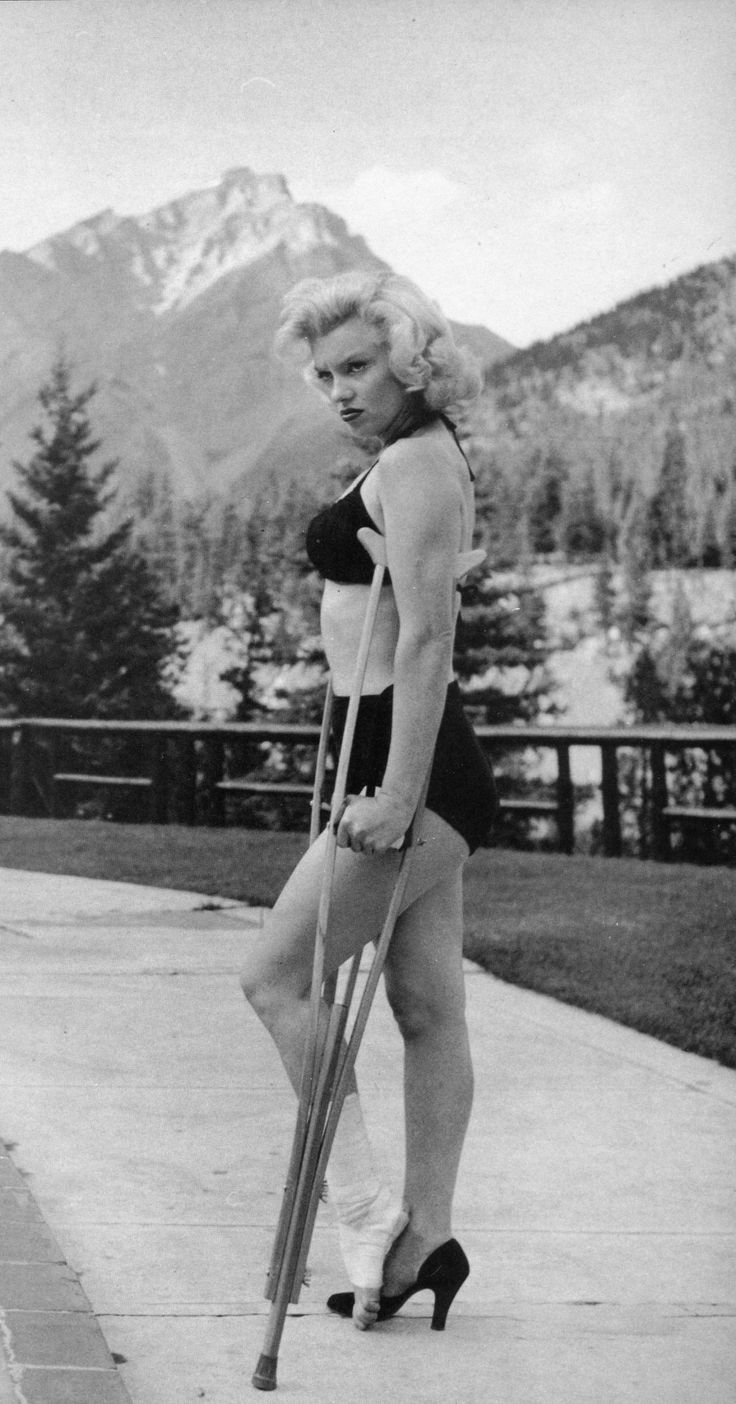 Marilyn Monroe with a sprained ankle in Banff, 1953 Photo by John Vachon, February 1989 American Heritage