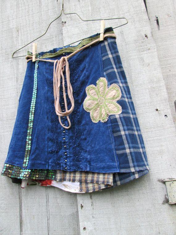 Spring / Summer Blue Upcycled Clothing Mini Skirt / by CreoleSha