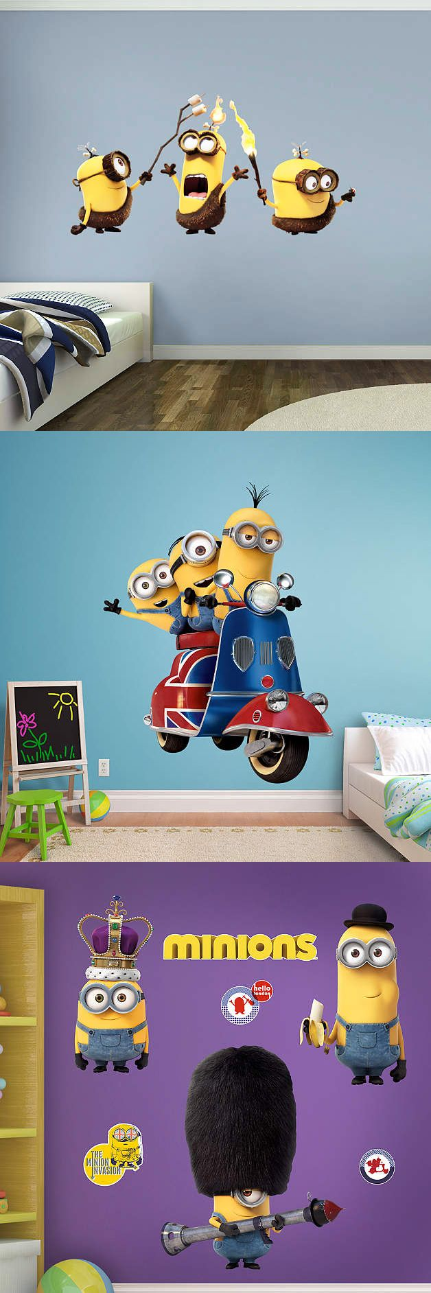 Bring home the cuteness with Minion Fathead peel & stick wall decals!