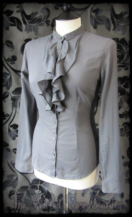 Victorian Goth Grey Stripe Ruffle High Collar Governess Blouse 8 10 Steampunk | THE WILTED ROSE GARDEN on eBay // UK Based // Worldwide Shipping Available