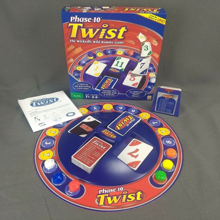 Phase 10 Twist Board Game Wild Rummy Card Game Fundex 2010