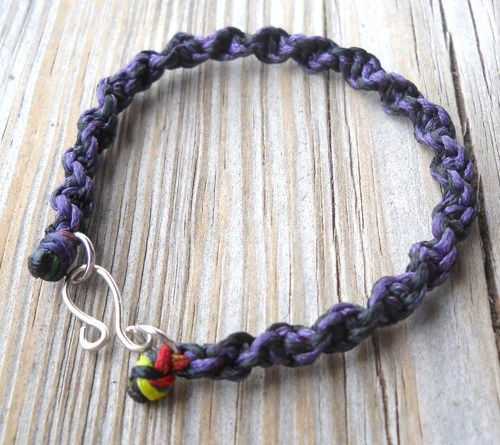Purple Black Wax String Bracelet | pavlos - Jewelry on ArtFire