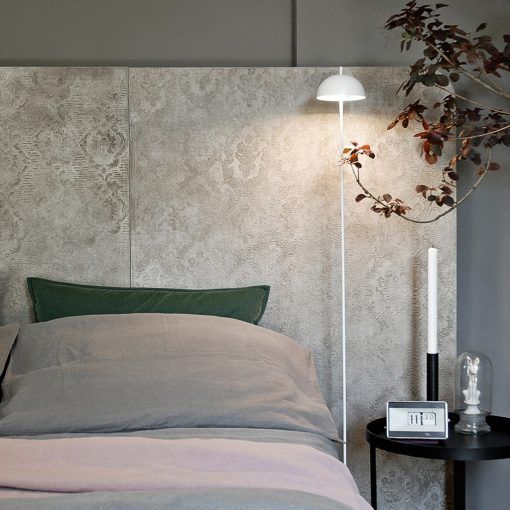 HIDE BED is an handcrafted headboard decorated by the artist decorator Stefano Pravato with a special concrete resin technique that creates elegant textures and nuances. The headboard  frames either the double size bed, the single bed, or the french bed.