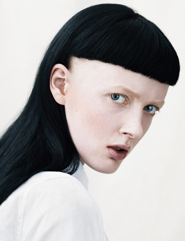 yamamoto, super intense black hair with baby bangs shaved to the ear, androgynous, hair, beauty