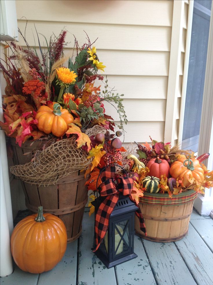 Baskets full of FALL - Front Door Decorations & 230 best fall decorations images on Pinterest | Floral arrangements ...