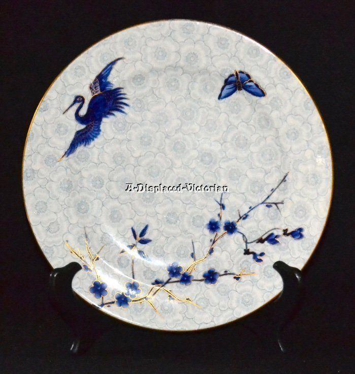 ANTIQUE 1884 ROYAL WORCESTER ART NOUVEAU CRANE CABINET PLATE CHINESE INFLUENCE