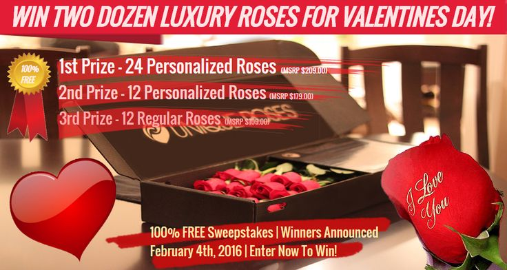 """Just follow these steps:   1. Like this post.   2. Visit: http://www.uniqueroses.ca/valentines-sweepstakes-2016/ (or) visit link in bio & click on """"Valentines Sweepstakes"""". Simply Fill out form to enter.  3. Share with a buddy! You have completed the loop.  Not redeemable for cash. No purchase necessary. This #sweepstakes will start on 4/Jan/16 at 10:00 PM EST ends 4/Feb/2016 11:59 PM EST #Roses #Luxury #Sweepstakes #Love #Passion #Canada #Flowers"""