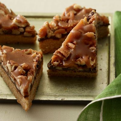 Make these delicious 30-minute Turtle Bars (under 300 calories) this holiday! #dessert #recipe | Health.com