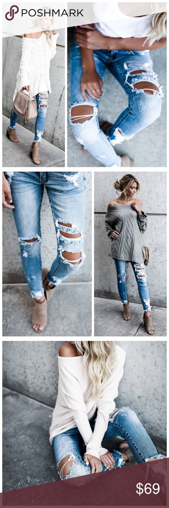 """BEST SELLER* New distressed skinny jeans Frayed Ankle Classic 5 Pocket Fit Inseam to hem length on a size 1 measures 26"""" 98% Cotton and 2% Spandex Model is 5'7"""" and wears a 1  Please allow 3-7 business days for shipment as this restock gas just been ordered  PRICE FIRM Jeans Skinny"""