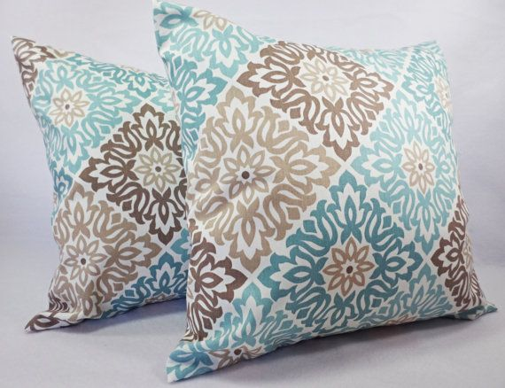 Blue Pillow Covers  Blue and Brown Throw by CastawayCoveDecor, $32.00