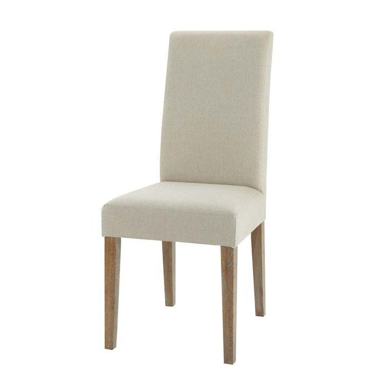 Linen and oak chair Léonie