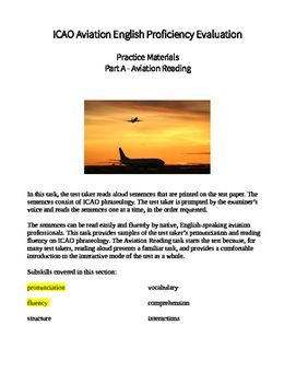PDF practice exercise for part A, aviation reading.