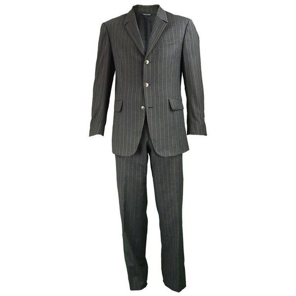 Preowned Thierry Mugler Men's Grey & Green Pinstripe Wool Blazer&... ($345) ❤ liked on Polyvore featuring men's fashion, men's clothing, men's suits, green, trouser pant suits, mens green suit, mens blazers, mens pinstripe blazer, mens gray suit and mens blazer jacket