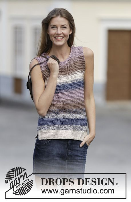 "Knitted DROPS top in garter st in 2 strands ""Cotton Viscose"". Size: S - XXXL. ~ DROPS Design"