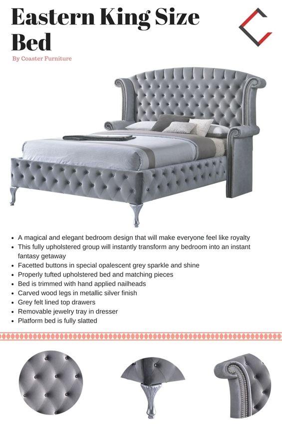 Coaster Furniture Deanna Grey King Size Bed #KingSizeBed king size