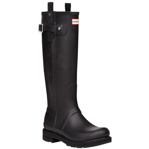 Hunter Original Tall Pulltab Wellington Boots, Black ($210) ❤ liked on Polyvore featuring shoes, boots, tall rain boots, flat black knee high boots, tall black boots, black buckle boots and black rubber boots