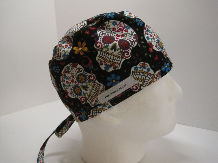 Black Sugar Skulls minimalist/mens scrub hat, nurse scrub hat, OR scrub hat. Surgical scrub hat, Surgical Tech Hat by sewingzen on Etsy
