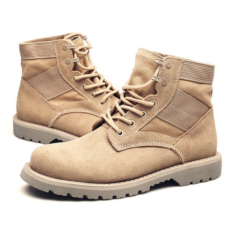 [ 49% Off ] 2017 New Men Autumn Winter Ankle Boots Military Boots Men Cow Suede Lace Up bottine botki bots botines para hombre bota militar