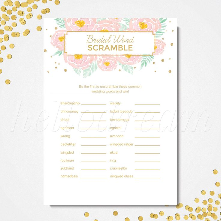 Bridal Shower Word Scramble, Gold and Pink Floral