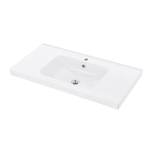 IKEA - ODENSVIK, Single wash-basin,  , 100x49x6 cm, , 10 year guarantee. Read about the terms in the guarantee brochure.The included water trap is easy to connect to the drain, washing machine and dryer because it is flexible.Unique water trap design gives room for a full sized drawer. #basin
