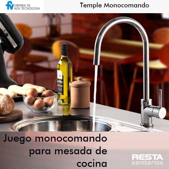TEMPLE, una pieza de alta gama y #diseño #minimalista, con #rociador manual extraíble que permite trabajar cómodamente en la limpieza de frutas, verduras y utensilios de #cocina. Encontrala en RESTA! griferia cocina juego de cocina