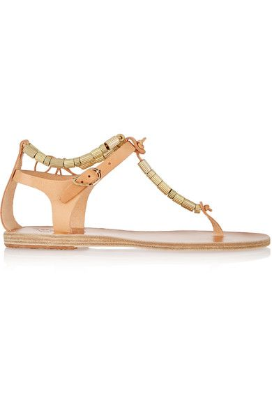 Ancient Greek Sandals - Chrysso Beaded Leather Sandals - Beige - IT42