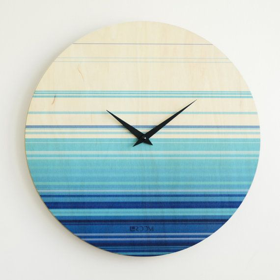 Handmade Wall Clock Sea    Material - plywood 8mm (0,32)  Cladding - varnish and paint (can be differnet colors) Mechanism - Hermle (Germany). Requires 1 AA battery (not included) Silent mechanism     Diameter: 35cm (13,77) -49$ 40cm (15,75) - 64$ 50cm (19,7) - 83$ 60cm (23,62) - 99$ 70cm (27,5) - 119$