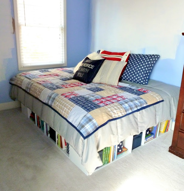 DIY Platform bed made with Closetmaid shelving from Target!