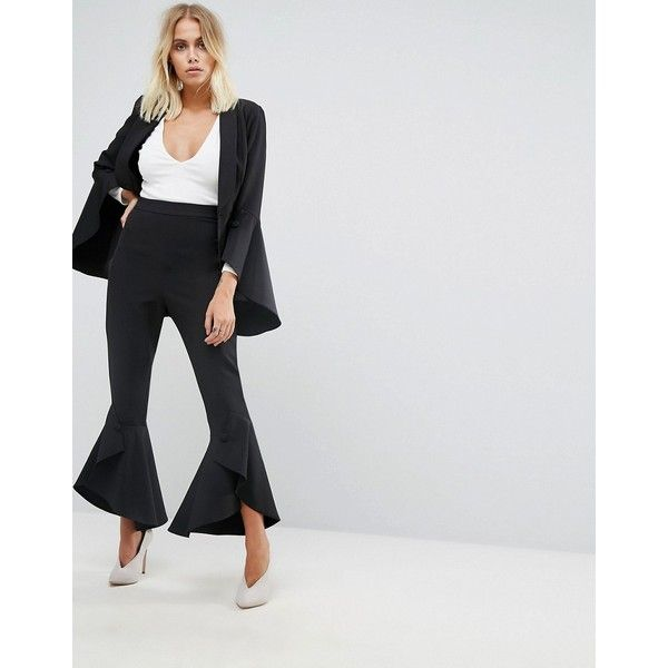 Lavish Alice Frill Fitted Pants ($103) ❤ liked on Polyvore featuring pants, black, stretchy pants, tall pants, high waisted stretch pants, fitted pants and zip pants