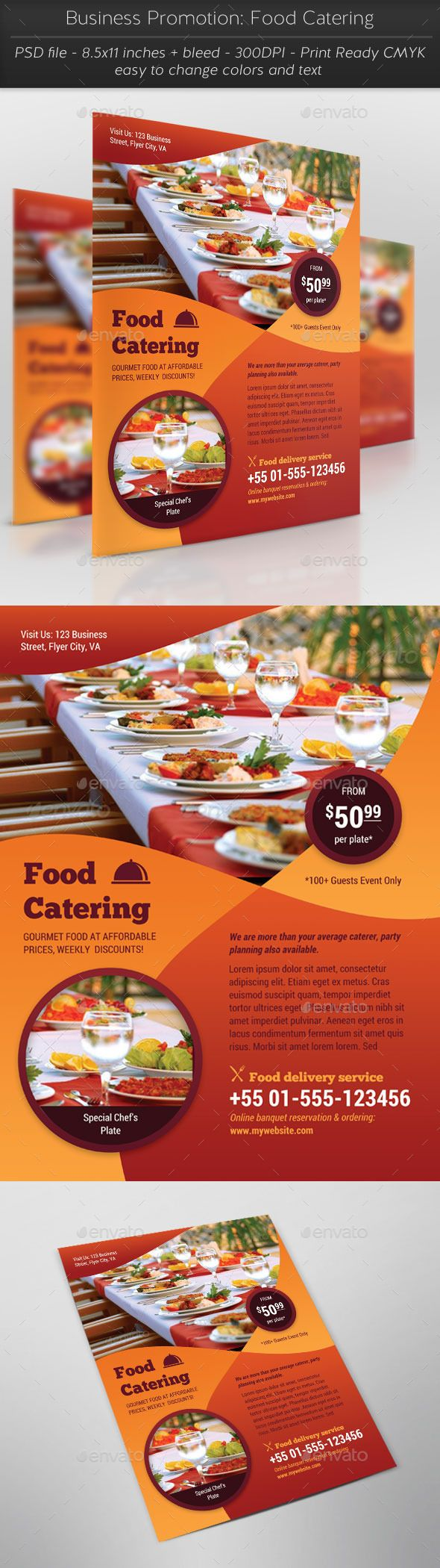 Business Promotion Food Catering Flyer Template PSD #design Download: http://graphicriver.net/item/business-promotion-food-catering/12817006?ref=ksioks