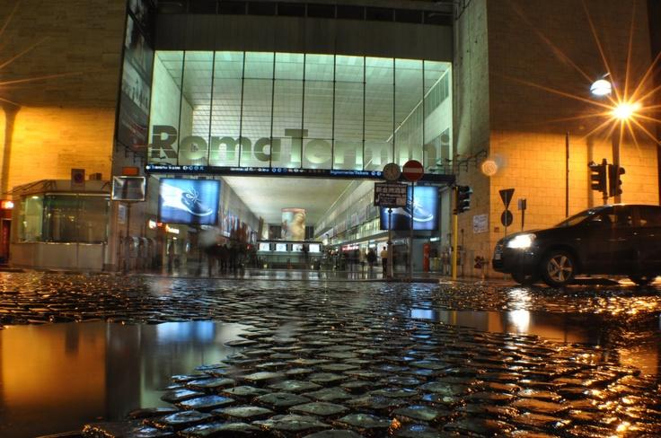 Roma Termini train station at night