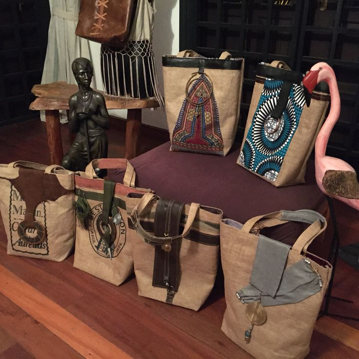 Jute bags In african material and italian touch. Made in Kenya.
