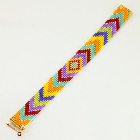 Gypsy Caravan Bead Loom armband Boheemse Boho door PuebloAndCo