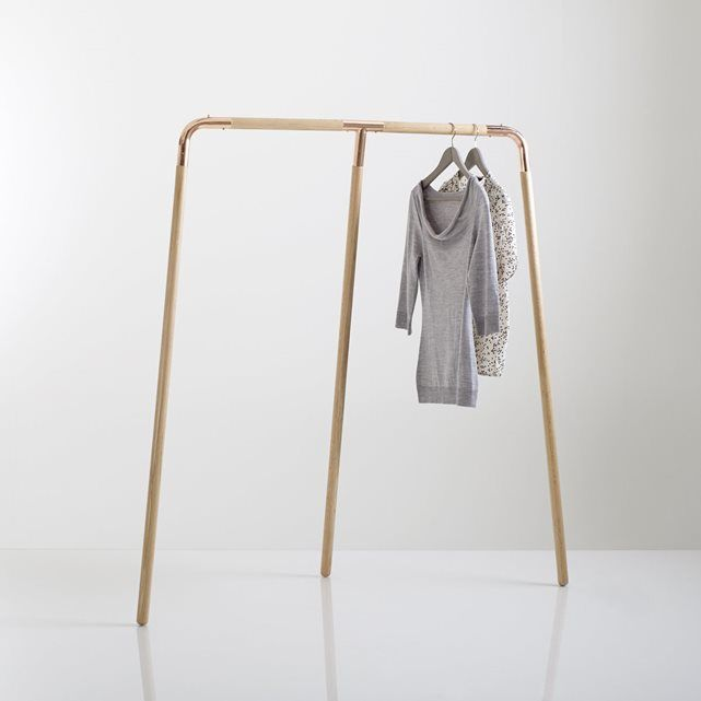 ELORI Solid Oak and Metal Clothes Rail La Redoute Interieurs  Minimal clothes rack for display