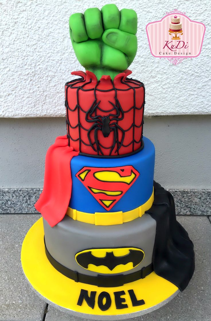 Superhero cake Superman, Batman, Spiderman and Hulk
