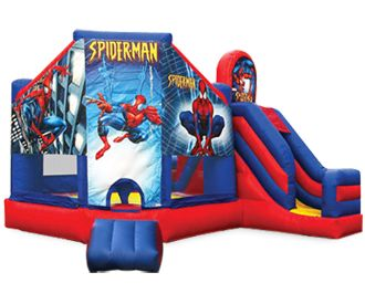 Inflatable Spider Man 3n1 Bounce House Combo..Jump, Climb & Slide. Spiderman Super Hero Party! Available in & around Metro Atlanta 770-529-0053  ASTRO JUMP - ATLANTA