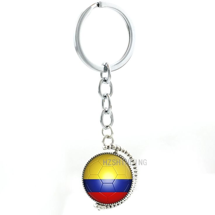 Rotatable double sides Colombia football team men women keychain fashion sports pendant City Map key chain ring Jewelry N494
