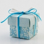 Vintage Blue Square Favour Box £0.59 The Wedding Gift Company