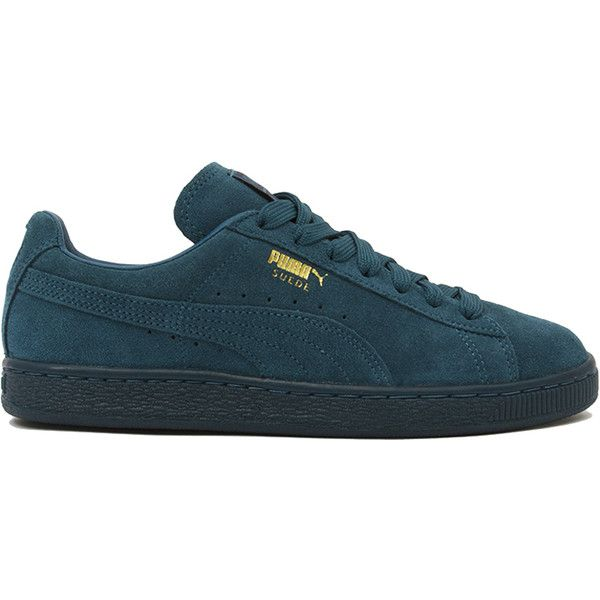 Puma Suede Classic + Mono Iced Sneakers - Blue Coral ($65) ❤ liked on Polyvore featuring shoes, sneakers, puma, blue coral, suede leather shoes, round toe shoes, blue shoes, cushioned shoes and blue sneakers