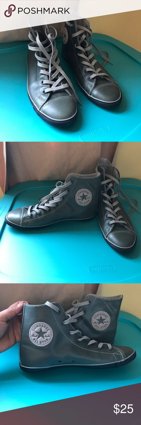 High top sneakers Converse leather high top sneakers; worn once. Converse Shoes Sneakers