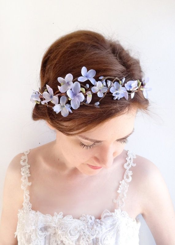 Exquisite flower crown with the most delicate purple blossoms caught in the brambles... a sweet floral crown you can tie with ribbons, or wear as a
