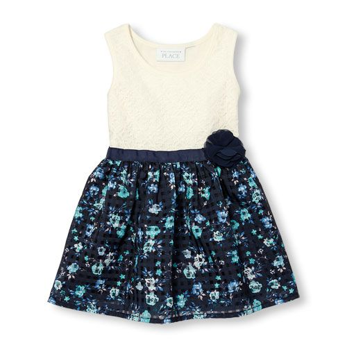 Baby Girls Toddler Sleeveless Floral Print Knit-To-Woven Dress - Blue - The Children's Place